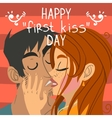Happy first kiss day greeting card vector