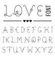 Hand drawn love font - valentines set with hearts vector