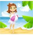 Cute little girl at the sunny beach vector