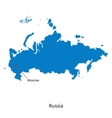 Detailed map of russia and capital city moscow vector