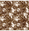Seamless brown floral pattern vector