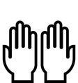 Hands outline icon vector
