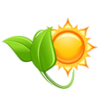 Sun and green leaves in glossy style vector