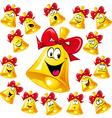 Bell cartoon with red ribbon - many facial vector