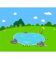Spring with pond lanscape vector