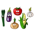 Colorful cartoon vegetables with happy faces vector