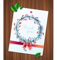 Thank you watercolor floral wreath ribbon and bow vector