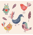 Color vintage cute cartoon birds doodle set vector