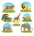 African animals with graphic backgrounds vector