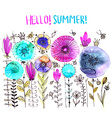 Watercolor floral composition romantic card of vector