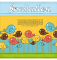 Invitation card with colorful birds vector