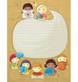 School frame with children vector