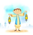 Kid with eid lantern vector