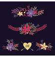 Set of cute retro floral bouquets vector