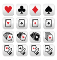 Playing cards poker gambling buttons set vector