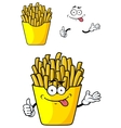 Cartoon french fries with hands and face vector