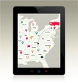Digital tablet with map pins vector