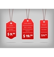 Red hanging pricing tags or labels with white vector