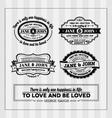 Wedding typography stamps vector