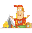 Tourist camping vector