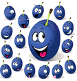 Plum cartoon with many facial expressions vector