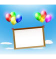 Wooden frame hanging on balloons vector