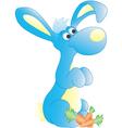 Blue bunne with carrots vector