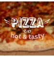 With blurred pizza background and label des vector