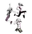 Jumping women vector