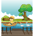 A boy riding on a boat followed by ducks vector