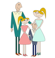 Cartoon family of four person vector