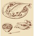 Hand drawn seafood vector