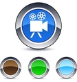 Video camera round button vector