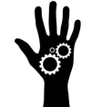 Black hand with gears vector