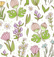 Wild floral colorful seamless pattern vector