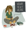 Girl writing text message on her mobile phone vector