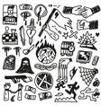 Crime violence - doodles set vector