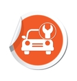 Car with tool icon orange label vector
