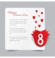Red paper rose 8 march womens day card vector