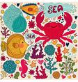 Crab print vector