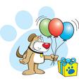 Cartoon dog with balloons vector