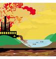 Air polluting factory chimneys vector