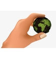 Green planet in the palm vector
