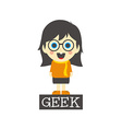 Geek girl cartoon vector