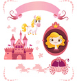 Set of pink princess tale vector