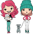 Cute hipster baby girl with dog and cat vector