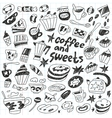 Coffee and sweets - doodles collection vector