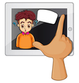 A hand touching a gadget with a man thinking vector