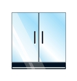 Glass doors on white background vector