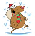 Happy santa bear runs with bag in the snow vector